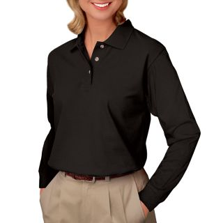 LADIES LONG SLEEVE SUPERBLEND PIQUE - BLACK 2 EXTRA LARGE SOLID-Blue Generation