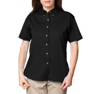 LADIES SHORT SLEEVE 100% COTTON TWILL - BLACK 2 EXTRA LARGE SOLID-Blue Generation