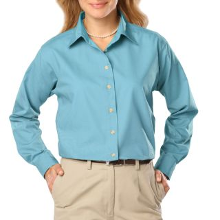 Ladies L/S Superblend Poplin Shirt with Bone Buttons-Blue Generation