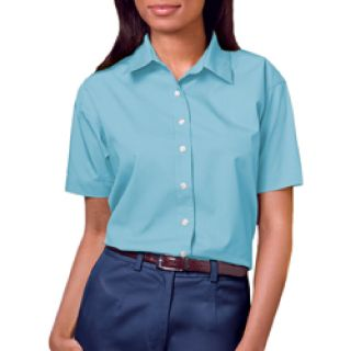LADIES LONG SLEEVE EASY CARE POPLIN - AQUA 2 EXTRA LARGE SOLID-
