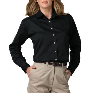 LADIES LONG SLEEVE TEFLON TWILL - BLACK 2 EXTRA LARGE SOLID-Blue Generation