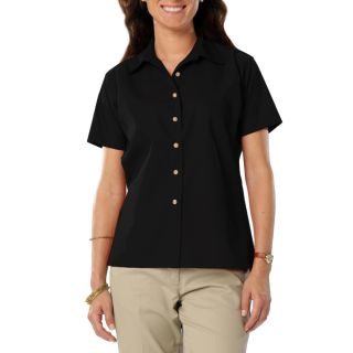 LADIES SHORT SLEEVE TEFLON TWILL - BLACK 2 EXTRA LARGE SOLID-Blue Generation