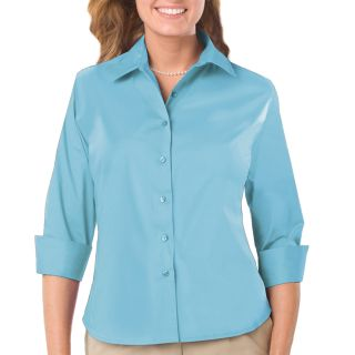LADIES EASY CARE STRECTH POPLIN - AQUA 2 EXTRA LARGE SOLID-