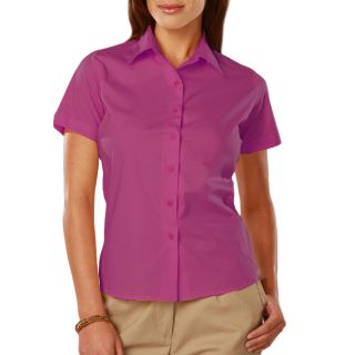 LADIES EASY CARE STRETCH SS POPLIN - BERRY 2 EXTRA LARGE SOLID-Blue Generation