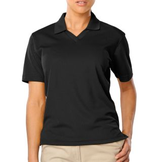 LADIES SOLID WICKING V-NECK - BLACK 2 EXTRA LARGE SOLID-