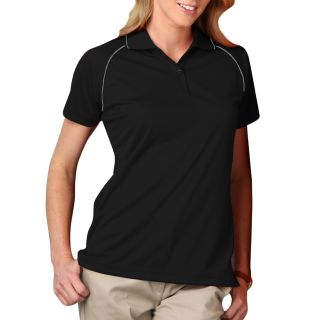 LADIES WICKING PIPED POLO - BLACK 2 EXTRA LARGE SOLID-Blue Generation
