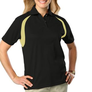 LADIES WICKING CONTRAST INSERT  - BLACK- VEGAS GOLD 2 EXTRA LARGE TRIM VEGAS GOLD-