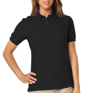 LADIES WICKING SOLID SNAG RESIST POLO  - BLACK 2 EXTRA LARGE SOLID-