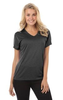 LADIES HEATHERED WICKING TEE - HEATHER BLACK 2 EXTRA LARGE SOLID-