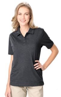 LADIES HEATHERED WICKING POLO - HEATHER BLACK 2 EXTRA LARGE SOLID-Blue Generation