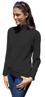 Ladies Wicking L/S Solid Zip Pullover-Blue Generation