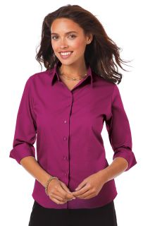 LADIES 3/4 SLEEVE EASY CARE POPLIN WITH MATCHING BUTTONS - BERRY 2 EXTRA LARGE SOLID-Blue Generation