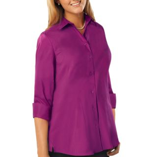 LADIES 3/4 SLEEVE EASY CARE POPLIN SWING BLOUSE/MATCHING BUTTONS  - BERRY 2 EXTRA LARGE SOLID-