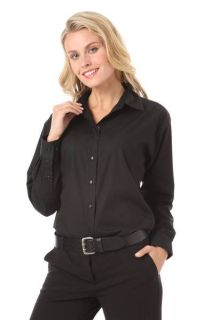 LADIES L/S POPLIN BISTRO SHIRT - BLACK 2 EXTRA LARGE SOLID-Blue Generation