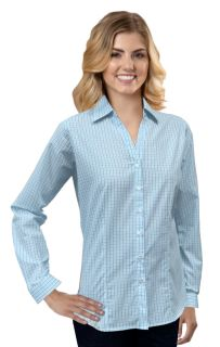Ladies L/S Untucked Plaid No Pocket Aqua Solid-