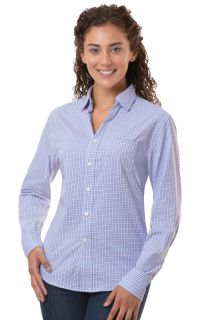 Ladies L/S Untucked Plaid No Pocket Blue Small Solid-