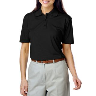 LADIES VALUE MOISTURE WICKING S/S POLO - BLACK 2 EXTRA LARGE SOLID-Blue Generation