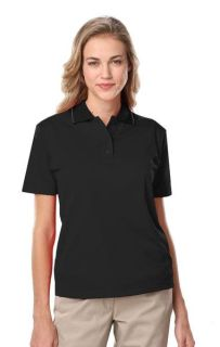 Ladies Wicking Piped Polo-Blue Generation