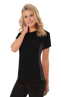 LADIES COLORBLOCK WICKING TEE - BLACK 2 EXTRA LARGE SOLID-Blue Generation