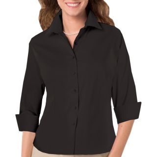 LADIES 3/4 SLEEVE PEACHED FINE LINE TWILL SHIRT - BLACK 2 EXTRA LARGE SOLID-Blue Generation