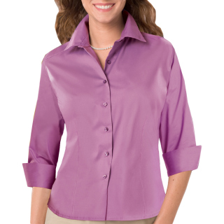 Ladies 3/4 Sleeve Fine Line Twill Shirt-Blue Generation