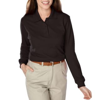LADIES SOFT TOUCH LONG SLEEVE POLO - BLACK 2 EXTRA LARGE SOLID-Blue Generation
