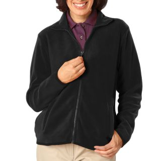 LADIES POLAR FLEECE FULL ZIP JACKET - BLACK 2 EXTRA LARGE SOLID-Blue Generation