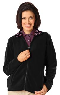 Your Logo Here Ladies Polar Fleece Full Zip Jacket Black Solid-Blue Generation