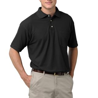 MENS SHORT SLEEVE TEFLON TREATED PIQUES WITH POCKET - BLACK 2 EXTRA LARGE SOLID-
