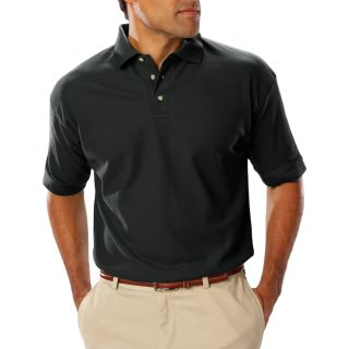 MENS SHORT SLEEVE TEFLON TREATED PIQUES NO POCKET - BLACK 2 EXTRA LARGE SOLID-