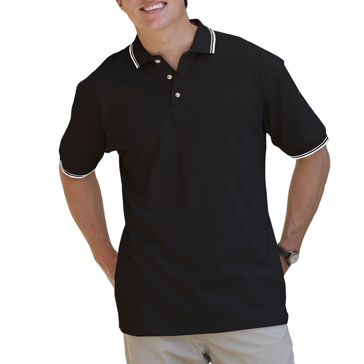 ad24d9ea7 MENS SHORT SLEEVE TIPPED COLLAR   CUFF PIQUES - BLACK 2 EXTRA LARGE TIPPED  WHITE-