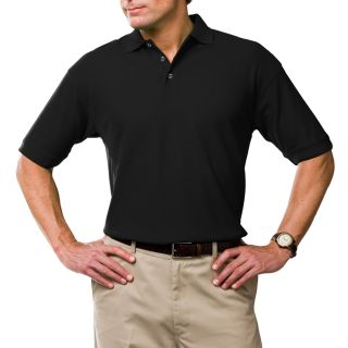 MENS SOLID WICKING POLO  - BLACK 2 EXTRA LARGE SOLID-Blue Generation