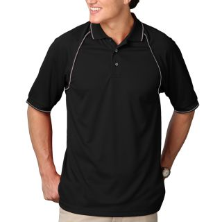 MENS WICKING PIPED POLO - BLACK 2 EXTRA LARGE SOLID-
