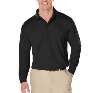 ADULT L/S SNAG RESISTANT MOISTURE WICKING POLO - BLACK 2 EXTRA LARGE SOLID-