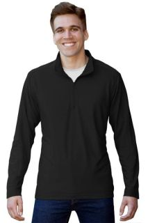 Mens Wicking L/S Solid Zip Pullover