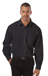 MENS L/S POPLIN BISTRO SHIRT - BLACK 2 EXTRA LARGE SOLID-