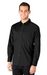 MENS SUPERBLEND POPLIN L/S UNTUCKED SHIRT - BLACK 2 EXTRA LARGE SOLID-