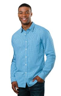 Mens L/S Untucked Gingham Aqua Solid-