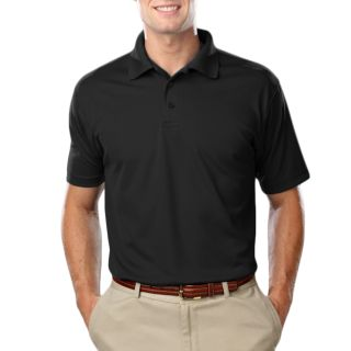 MENS VALUE MOISTURE WICKING S/S POLO - BLACK 2 EXTRA LARGE SOLID-