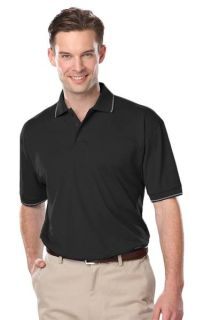 MENS WICKING PIPED POLO - BLACK 2 EXTRA LARGE SOLID-Blue Generation