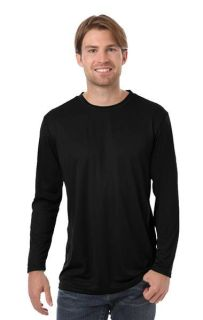 ADULT VALUE L/S WICKING TEE - BLACK 2 EXTRA LARGE SOLID-Blue Generation