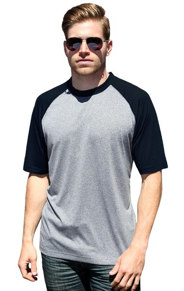 ADULT COLOR BLOCK WICKING T - BLACK 2 EXTRA LARGE SOLID-