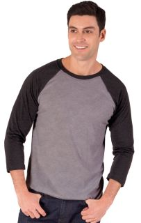 ADULT TRIBLEND 3/4 SLEEVE BASEBALL CREW NECK - BLACK 2 EXTRA LARGE TRIM GREY-