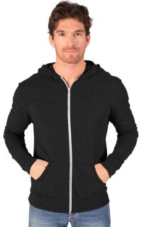 ADULT TRIBLEND ZIP FRONT HOODIE - BLACK 2 EXTRA LARGE SOLID-