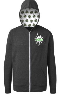Your Logo Here Adult Triblend Zip Front Hoodie Black Solid-