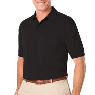 ADULT SOFT TOUCH POCKETED POLO - BLACK 2 EXTRA LARGE SOLID-