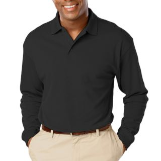 ADULT SOFT TOUCH LONG SLEEVE POLO - BLACK 2 EXTRA LARGE SOLID-Blue Generation
