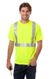ADULT HIGH VIS/REFLECTIVE TAPE WICKING TEE - OPTIC YELLOW 2 EXTRA LARGE SOLID-Blue Generation