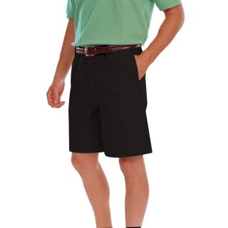 MENS FLAT FRONT TEFLON TREATED TWILL SHORTS - BLACK LENGTH 8 INCH WAIST 28-Blue Generation