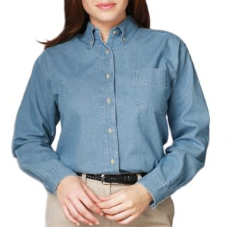 LADIES LONG SLEEVE PREMIUM DENIM - DARK INDIGO 2 EXTRA LARGE SOLID-
